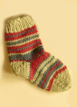 Knit Child's Striped Socks in Lion Brand Wool-Ease - 70287A
