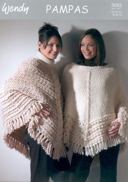 Textured Ponchos in Wendy Pampas Mega Chunky - 5083