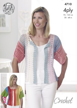 Top & Cardigan in King Cole Giza 4Ply - 4710 - Downloadable PDF