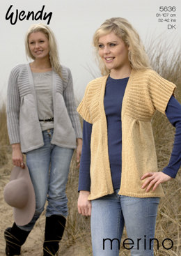 Kimono Cardigans with Long or Short Sleeves in Wendy Merino DK - 5636