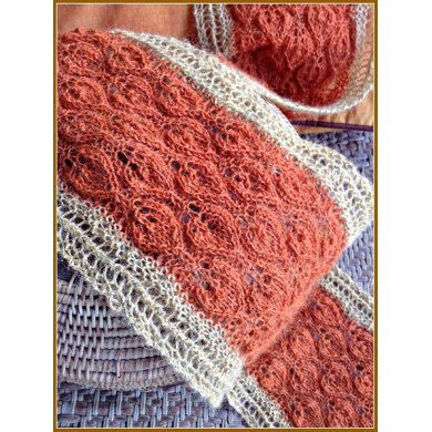 Lots of Leaves Autumn Colors Lace Knit Scarf