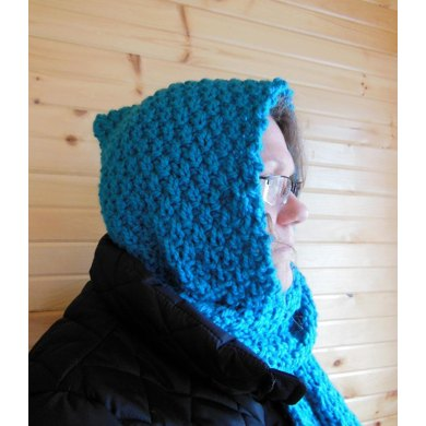 Hooded Circle Scarf Knitting Pattern : Hooded Scarf Knitting pattern by Diana Poirier