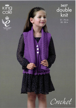 Cardigan, Waistcoat and Scarf in King Cole Smooth DK - 3657