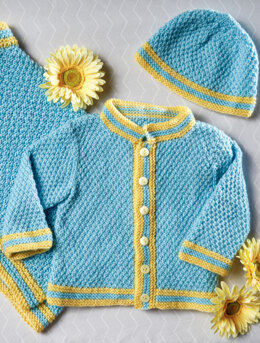 Moss Stitch Cardigan and Cap in Premier Yarns Anti-Pilling Everyday Baby - Downloadable PDF