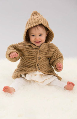 Hooded Playful Cardi in Red Heart With Love Solids - LW4834 - Downloadable PDF