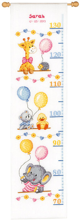 Vervaco Baby Shower Height Chart Cross Stitch Kit