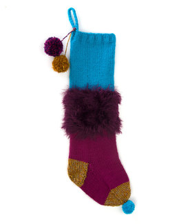 Furry Stocking in Lion Brand Vanna's Choice and Romance - L32163