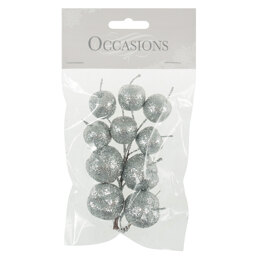 Groves Glitter Apples on Wire: 1 bunch of 10: Sulver