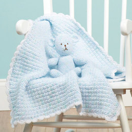 Crochet Teddy Lovey in Red Heart Soft Baby Steps Prints and Solids - LW1573 - Downloadable PDF