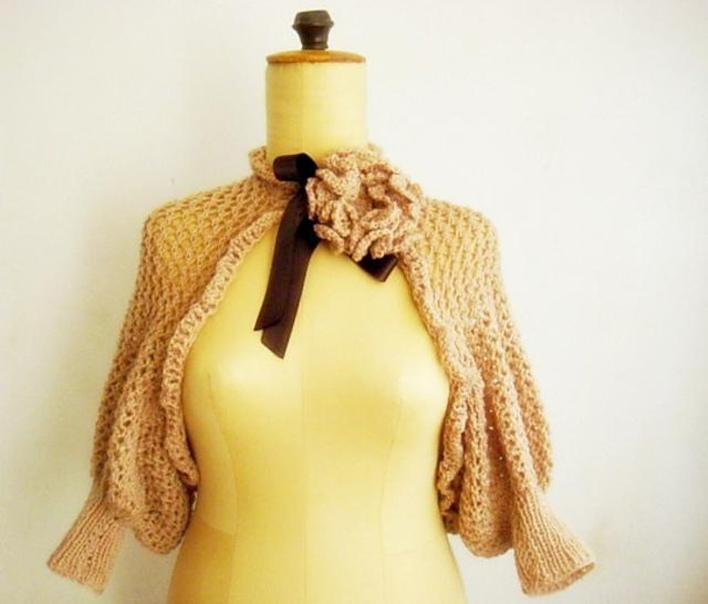Knit lace shrug with knit flower pin Knitting pattern by Faima