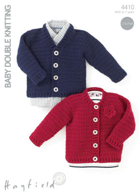 Crochet Cardigans with or witout flower detail in Hayfield Baby DK - 4410