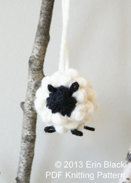 "Chunky Knit Sheep Toy Ornaments, 2 sizes (approx. 3"" and 5"")"