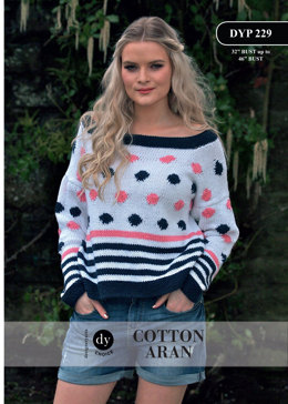 Spot and Stripe Jumper in DY Choice Cotton Aran - DYP229 - Downloadable PDF