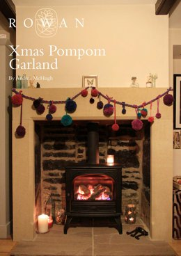 Xmas Pompom Garland in Rowan Brushed Fleece, Pure Wool Worsted, Chenille and Mohair Haze