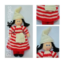 Striped Christmas Elf Folk Doll