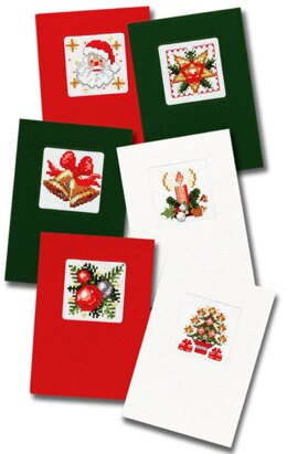 Pako Christmas Greeting Cards C, Set of Six Cross Stitch Kit - 10cm x 15cm