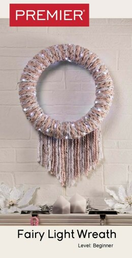 Fairy Light Wreath in Premier Yarns Mega Tweed - Downloadable PDF