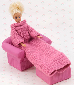 Crochet Fashion Doll Snuggle Up with Sleeves in Red Heart Designer Sport - WR1926 - Downloadable PDF