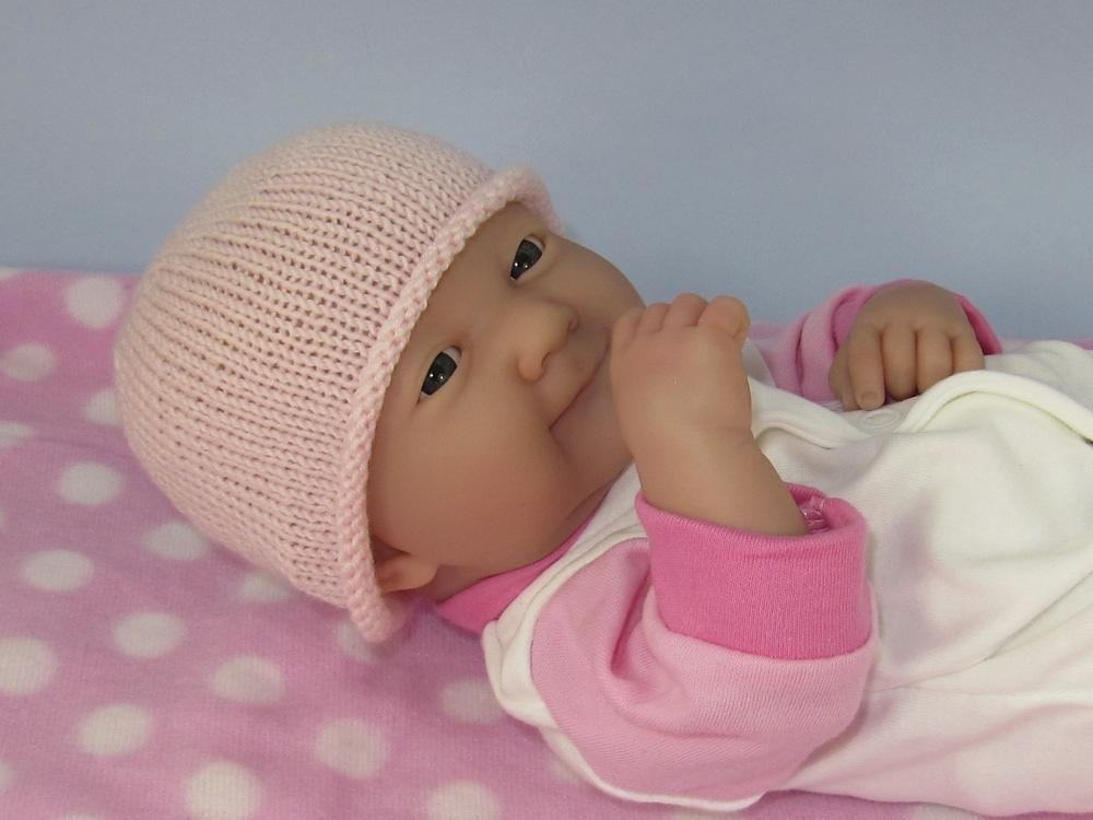 Very Easy Knitting Patterns For Babies : Just For Preemies - Premature Baby Very Easy 4 Ply Beanie Hat Knitting patter...