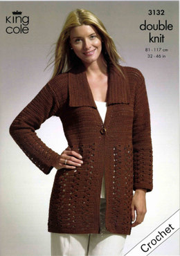 Crochet Jacket and Tunic in King Cole Bamboo Cotton DK - 3132