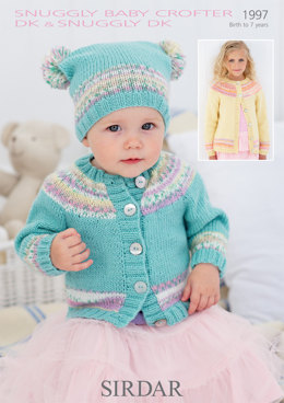 Round Neck Cardigan and T Bag Hat in Sirdar Snuggly DK and Snuggly Baby Crofter DK - 1997 - Downloadable PDF