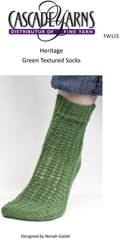 Green Textured Socks in Cascade Heritage - FW115