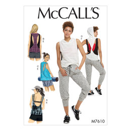 McCall's Misses' Pullover Tops with Back Variations and Pull-On Shorts and Pants with Elastic Waist M7610 - Sewing Pattern