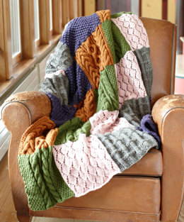 Patchwork Sampler Throw in Lion Brand Vanna's Choice - L0603