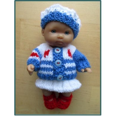 "Striped Cardigan Outfit for 5"" Berenguer Baby"