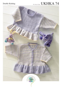 Frill Sweater and Cardigan in King Cole Baby DK - UKHKA74pdf - Downloadable PDF