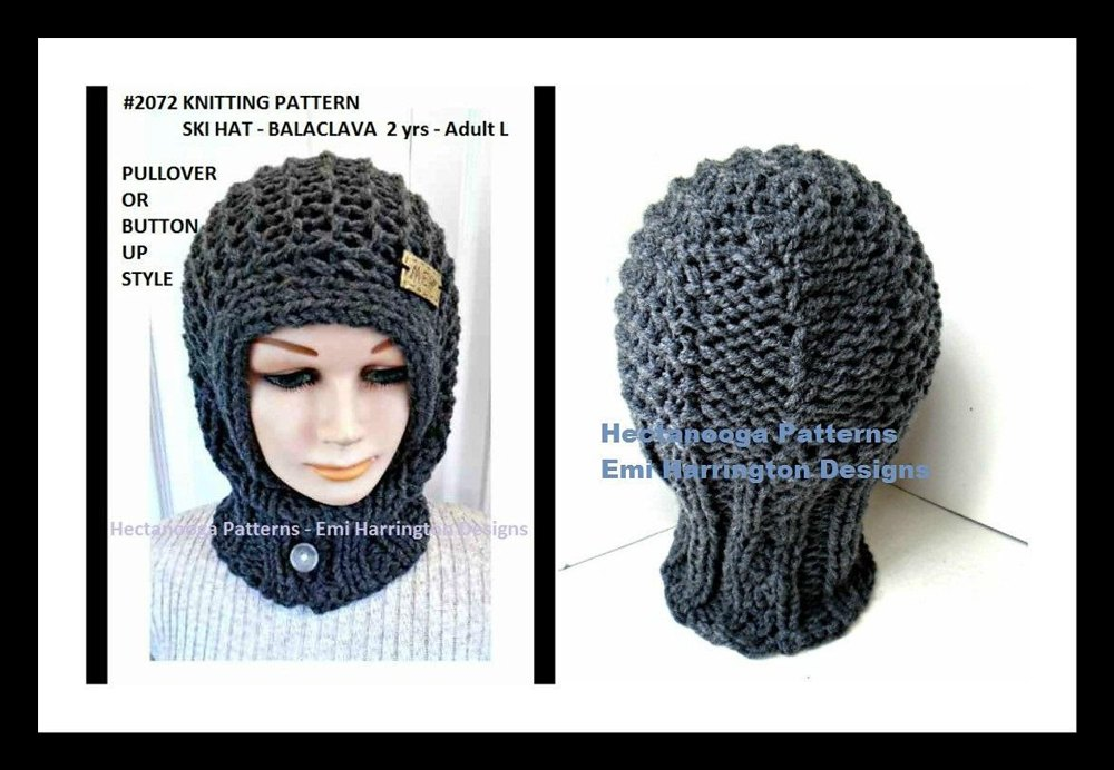 2072 Ski Hat Balaclava Knitting Pattern By Emi Harrington