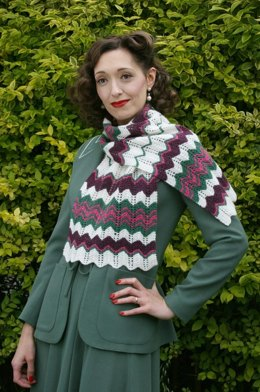 Feather Stitch Scarf in Susan Crawford Excelana 4 Ply