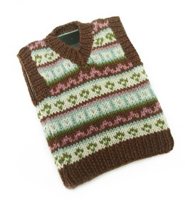 Tablet (iPad) Fair Isle Tech Vest in Lion Brand Wool-Ease - L20352