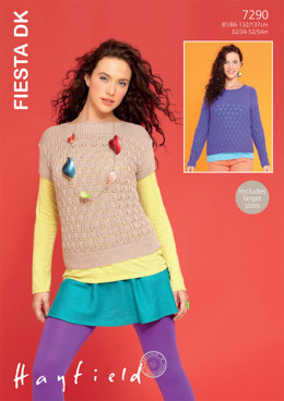 Top and Sweater in Hayfield Fiesta DK - 7290