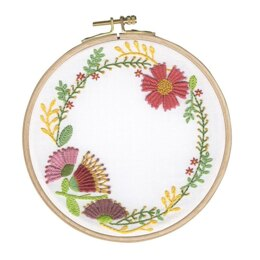 DMC Autumn Flowers Embroidery Kit with Hoop