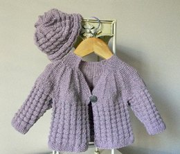 Textured Round Yoke Baby Sweater with Matching Hat