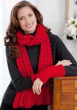 Lacy Bobble Scarf and Wristlets in Red Heart Shimmer Solids - LW2627