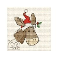 Mouseloft Christmas Card Stitchlet - Christmas Donkey Cross Stitch Kit
