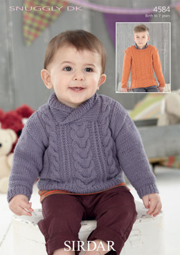 Wrap Neck and Round Neck Sweaters in Sirdar Snuggly DK - 4584 - Downloadable PDF
