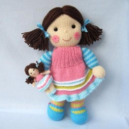 Maisie and her little doll - knitted dolls