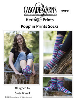 Popp'in Prints Socks in Cascade Yarns Heritage Prints - FW190 - Downloadable PDF