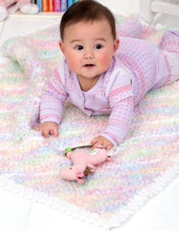 Diagonal Stripes Blanket  in Red Heart Baby Clouds Multis and Soft Baby Steps Solids - LW2589