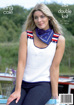 Ladies' Sweater and Vest Top in King Cole Smooth DK - 3429