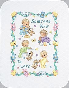 Dimensions Someone New Quilt Stamped Cross Stitch Kit - 86cm x 109cm