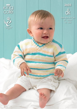 Sweater and Tank Top in King Cole Candystripe DK - 3605