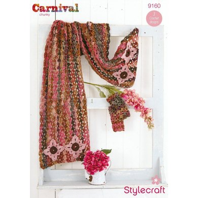 Lace Shawl and Scarf in Stylecraft Carnival and Life Aran - 9160