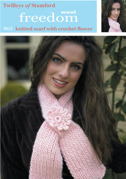 Scarf with Crochet Flower in Twilleys Freedom Wool -  9013