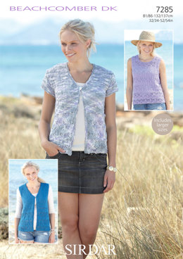 Waistcoats and Top in Sirdar Beachcomber Dk - 7285 - Downloadable PDF