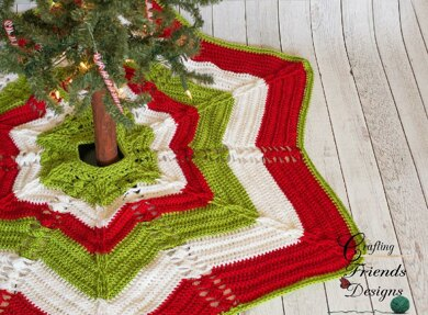 Classic Cable Star Christmas Tree Skirt Crochet Pattern By Crafting