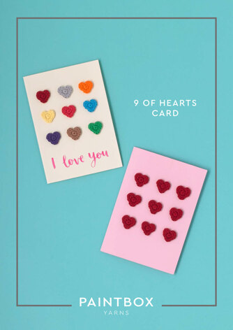 9 of Hearts Card in Paintbox Yarns Cotton DK - Downloadable PDF